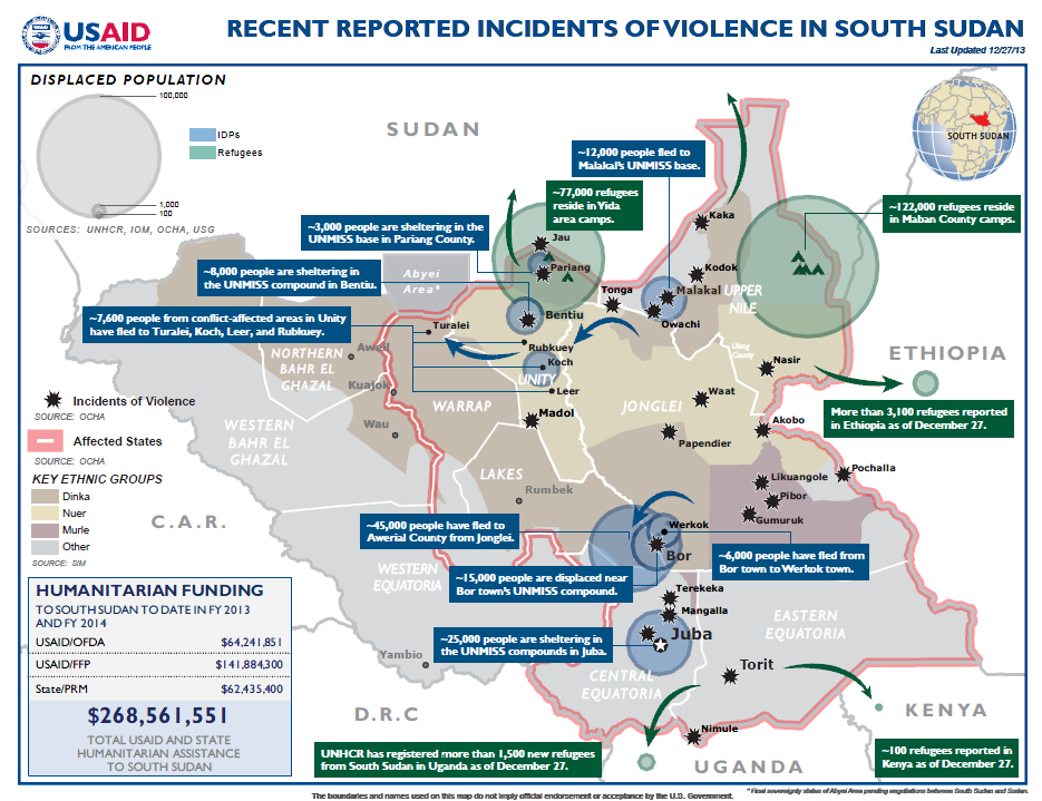 South Sudan Crisis Map February 7, 2014