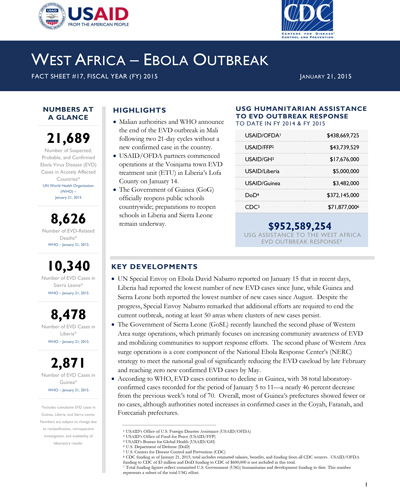 West Africa - Ebola Outbreak Fact Sheet #18 (FY 15)