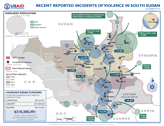 South Sudan Crisis Map #18, January 17, 2014 - Click to view map