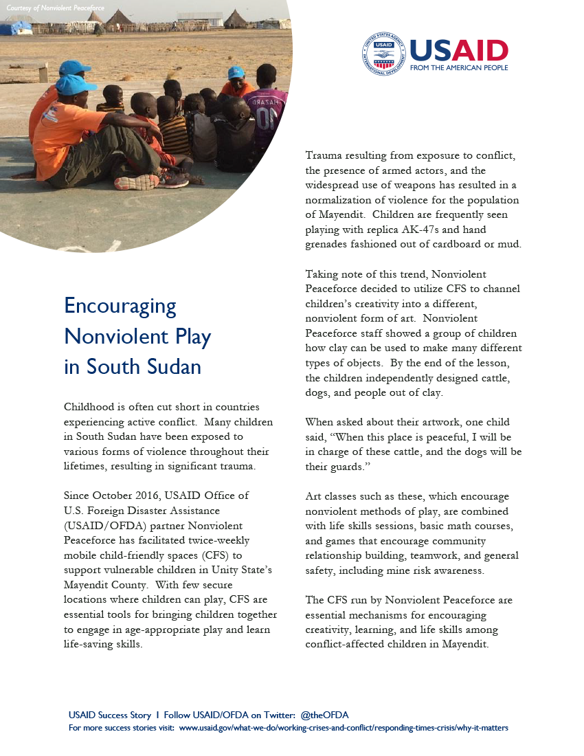 USAID/DCHA Success Story: Encouraging Nonviolent Play in South Sudan