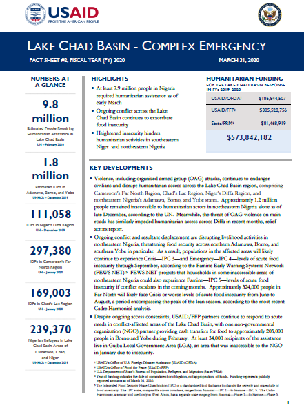 Lake Chad Basin Complex Emergency Fact Sheet #2 - 03-31-20