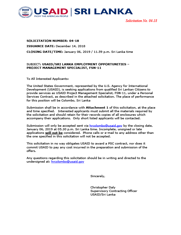 04-18: Project Management Specialist (Office of Governance
