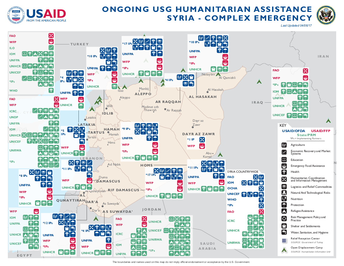 Syria Complex Emergency Fact Sheet April US - Syria interactive map