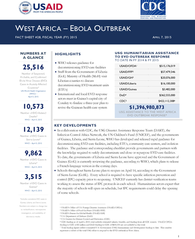 West Africa Ebola Outbreak Fact Sheet #28 (FY 15)