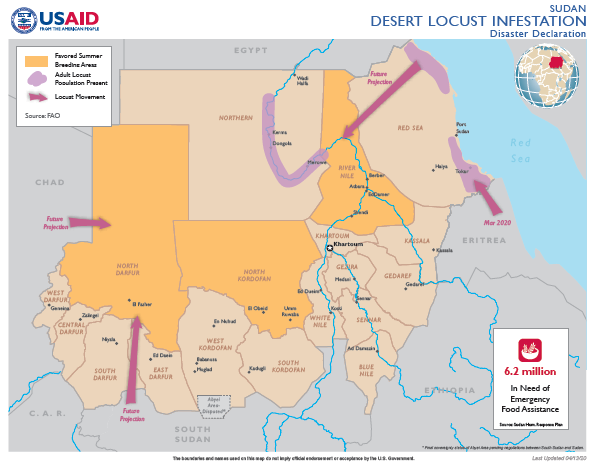 04.13.20 - Sudan Desert Locust Infestation Disaster Declaration Map
