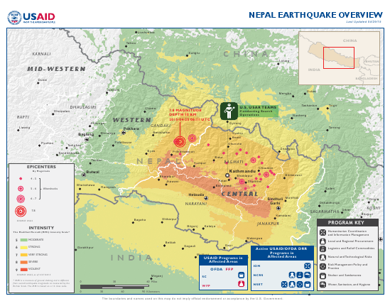 Nepal Earthquake Map - April 29, 2015