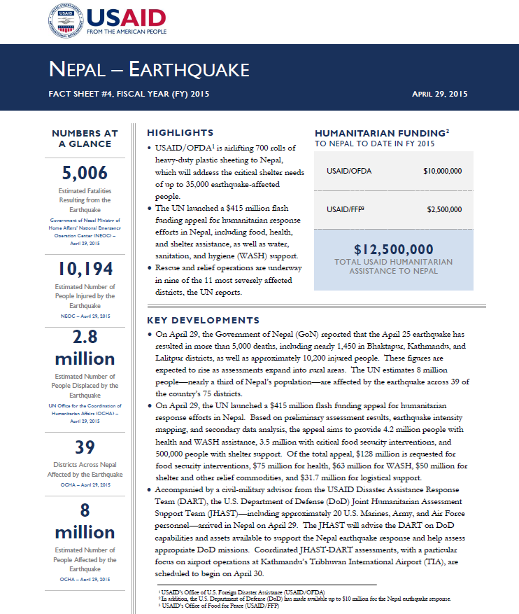 Nepal Earthquake Fact Sheet #4 - 04-29-2015
