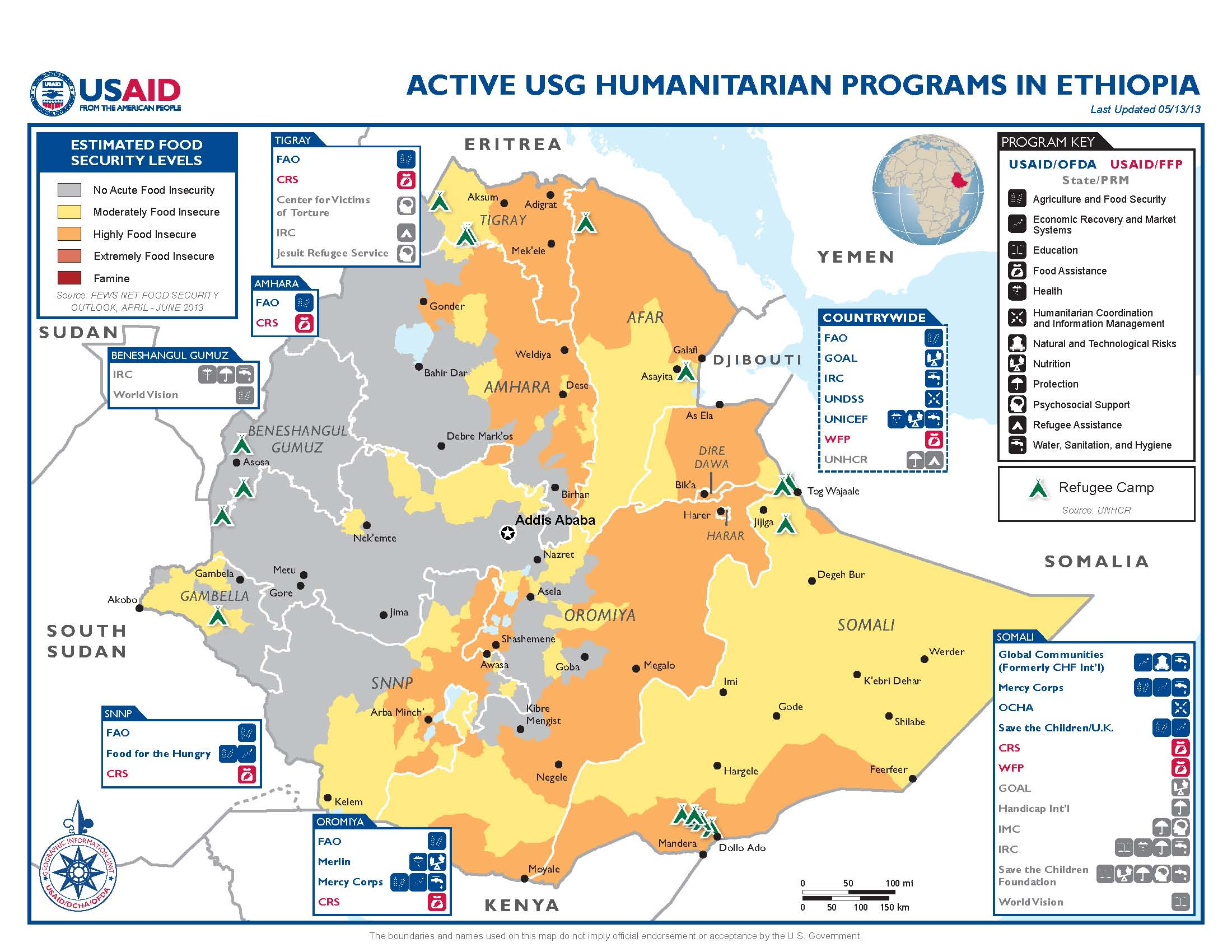 usg humanitarian istance to ethiopia map 05 13 13