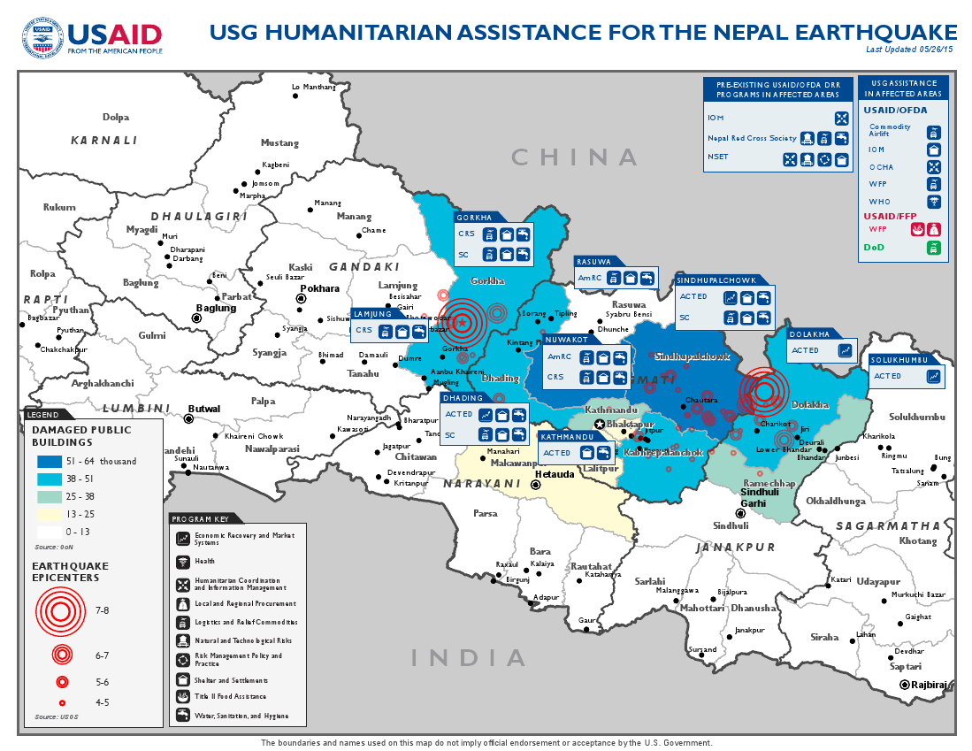 Nepal Earthquake Map - May 26, 2015