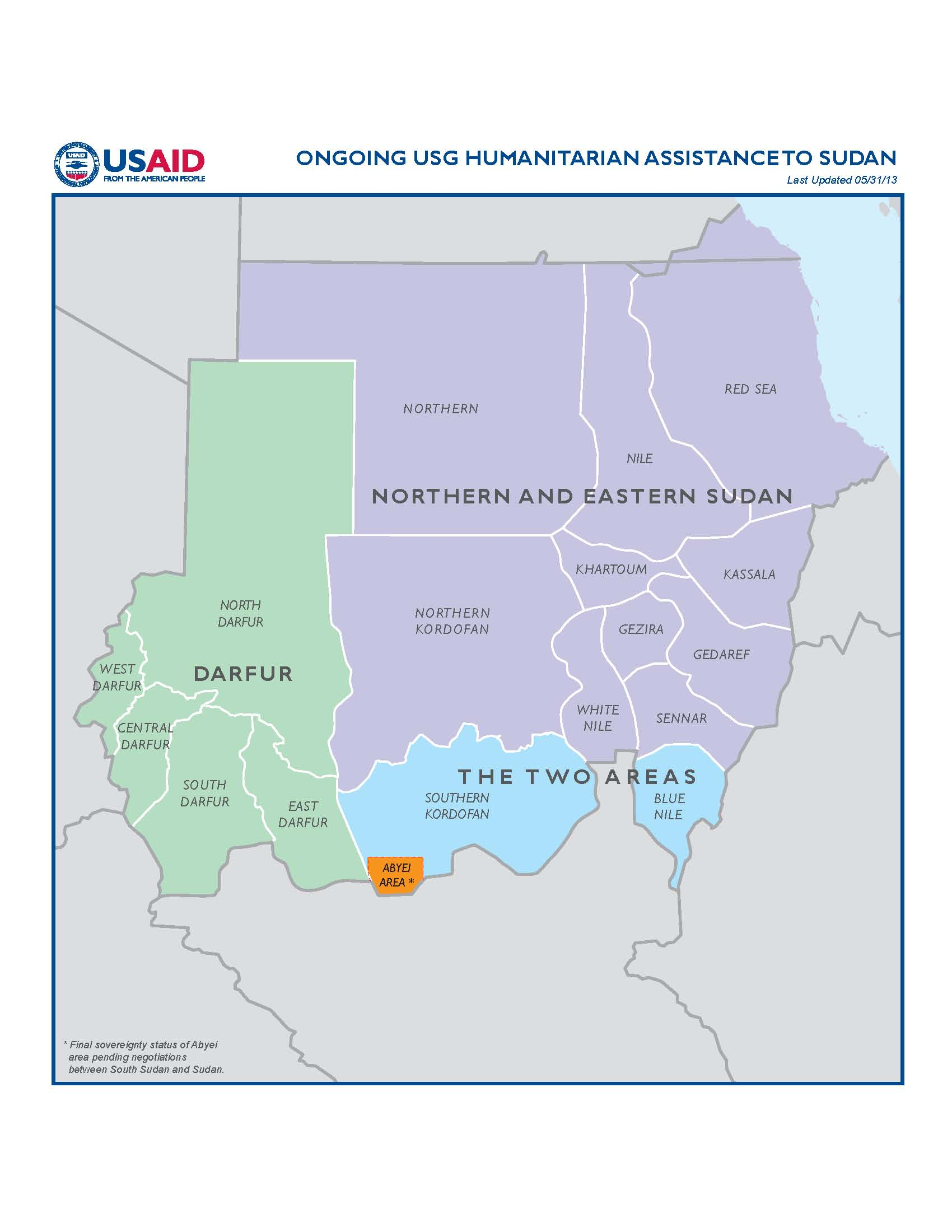 ongoing usg humanitarian istance to sudan map 05 31 2013