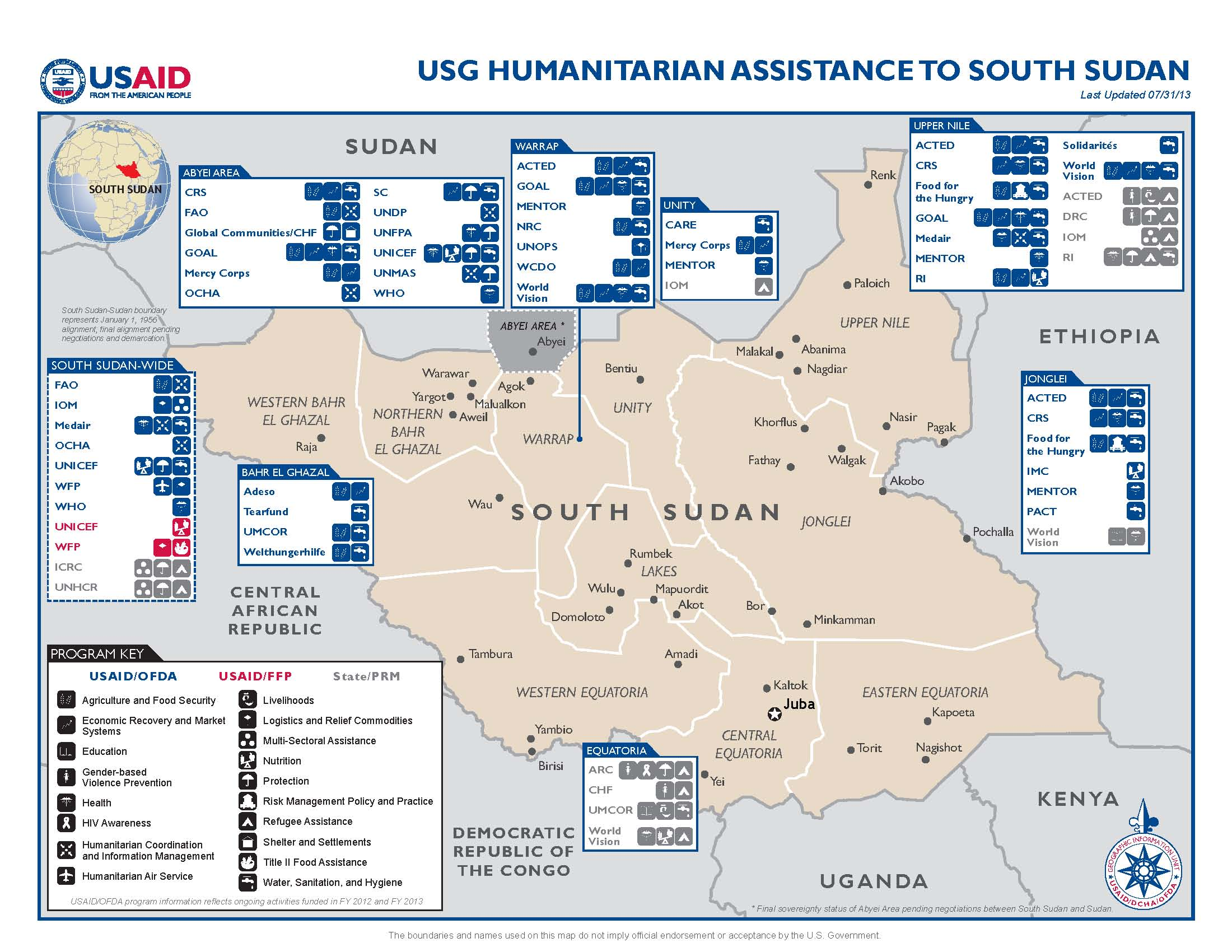 Usg Assistance To South Sudan Map 07 31 2013 U S Agency For