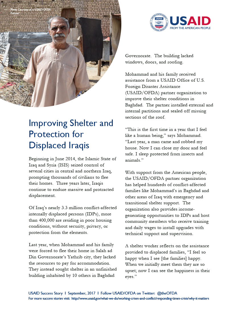 Success Story –  Improving Shelter and Protection for Displaced Iraqis