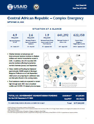 09.30.2020 - Central African Republic Complex Emergency Fact Sheet #4