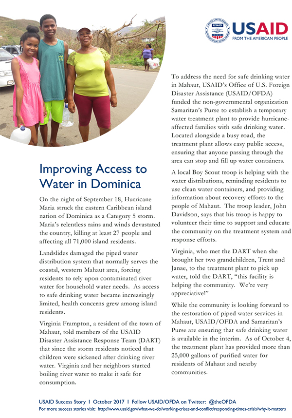 USAID/DCHA Success Story: Improving Access to Water in Dominica