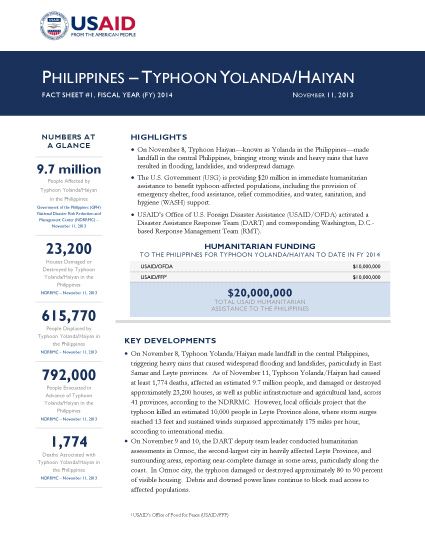 Super Typhoon Haiyan/Yolanda Fact Sheet #1