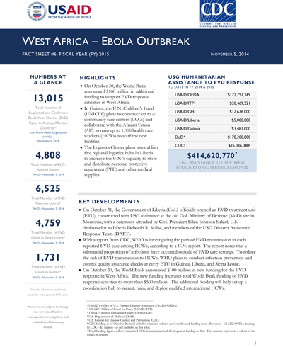 West Africa - Ebola Outbreak - Fact Sheet #6 (FY 15)