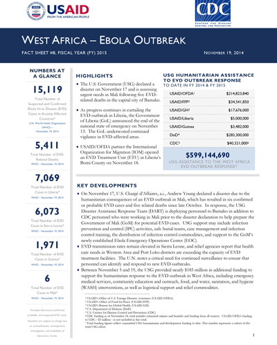 West Africa - Ebola Outbreak - Fact Sheet #8 (FY 15)