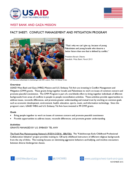 Conflict Management and Mitigation Fact Sheet for USAID West Bank and Gaza