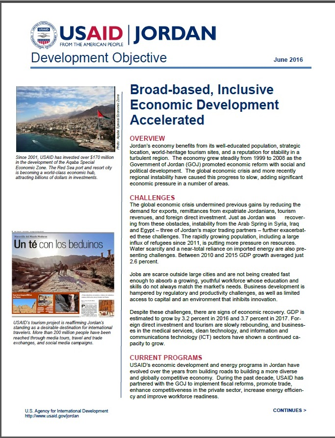 USAID/Jordan Economic Development & Energy Fact Sheet