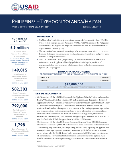 Typhoon Haiyan / Yolanda Fact Sheet #2 - 11/12/2013  - Click to read full PDF