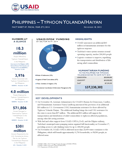 Typhoon Haiyan / Yolanda Fact Sheet #7 - 11/18/2013