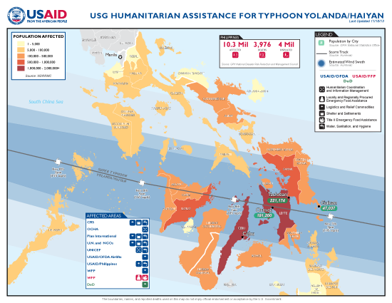 Typhoon Haiyan / Yolanda Map - 11/16/2013 (Click to view full-size map)