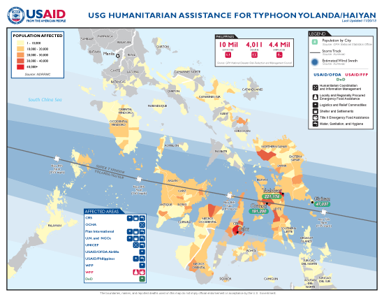Typhoon Haiyan / Yolanda Map - 11/20/2013 (Click to view full-size map)