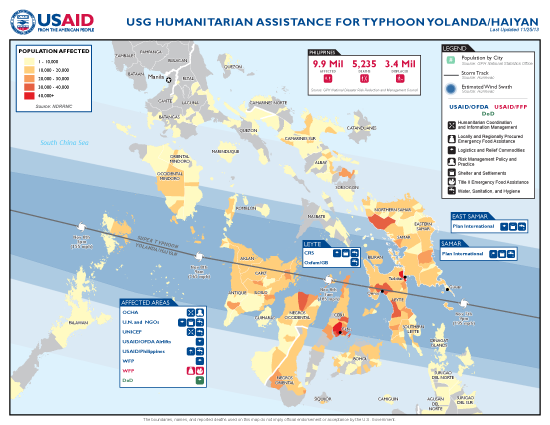 Typhoon Haiyan / Yolanda Map - 11/25/2013 (Click to view full-size map)