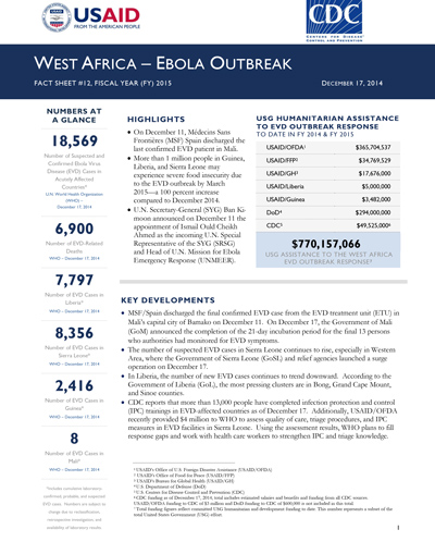 West Africa - Ebola Outbreak - Fact Sheet #12 (FY 15)