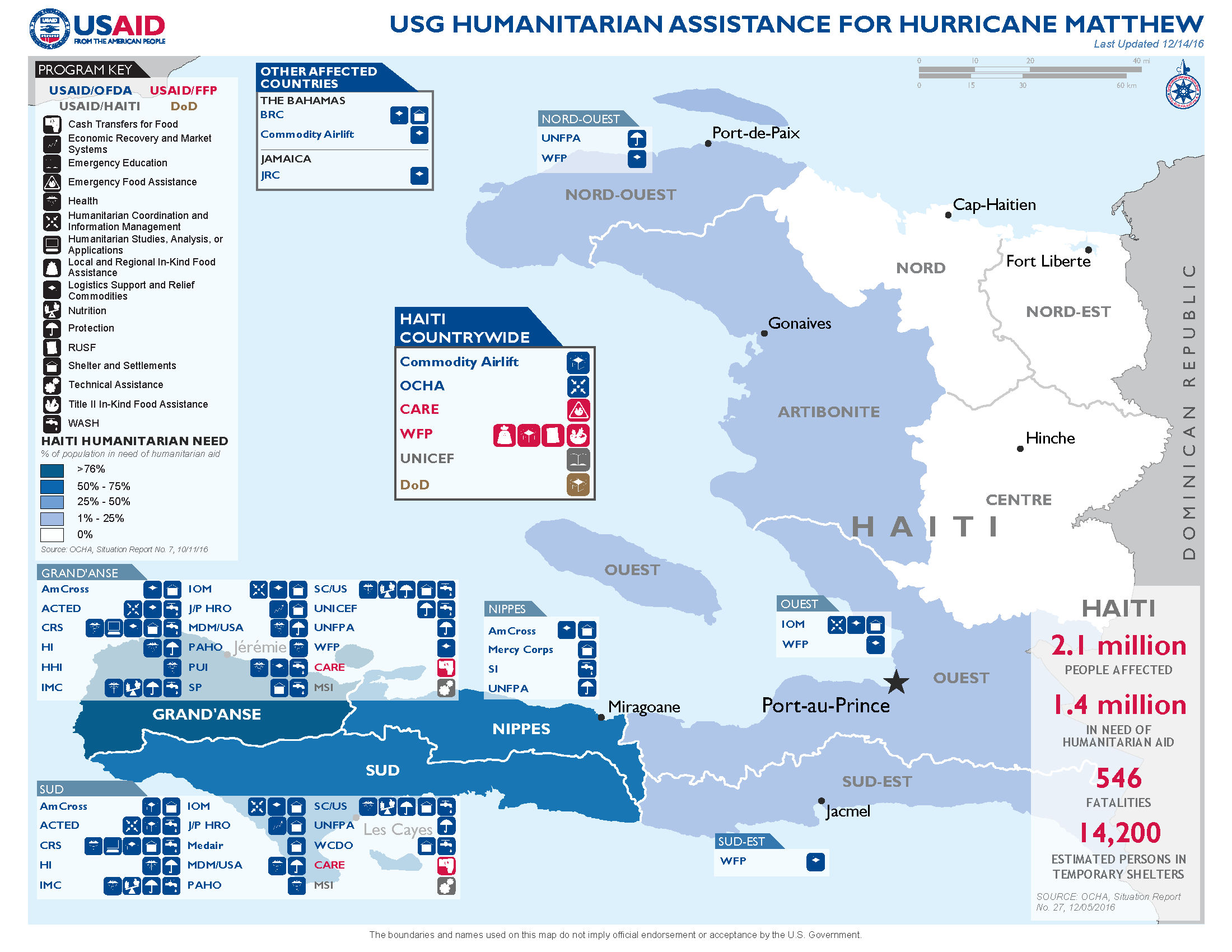 Map: USG Humanitarian Assistance for Hurricane Matthew - December 14, 2016