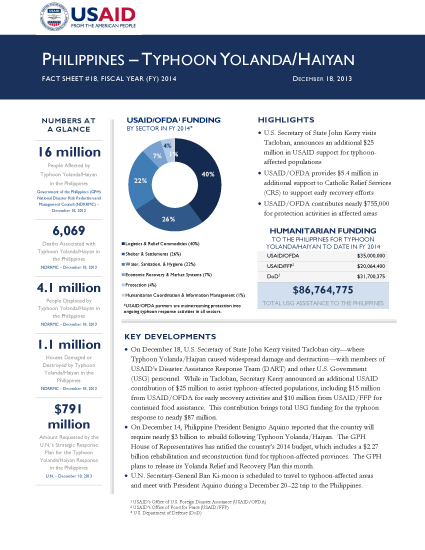 Typhoon Haiyan / Yolanda Fact Sheet #18 - 12/18/2013