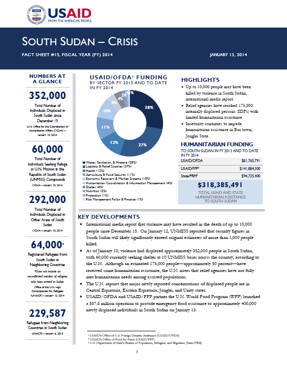 South Sudan Crisis Fact Sheet #16 January 14, 2014