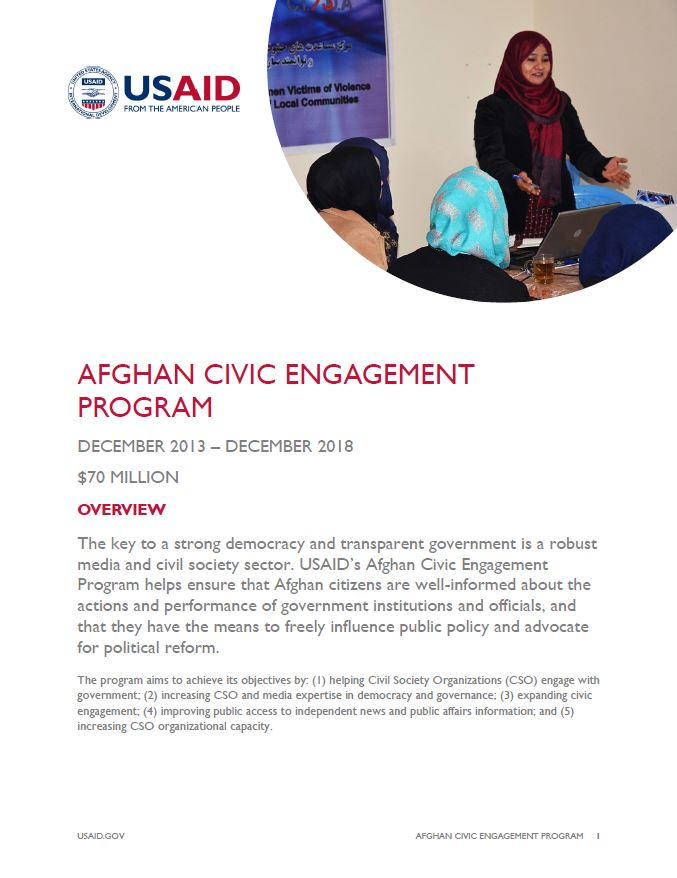 Ensuring Well Informed Citizens Through >> Afghan Civic Engagement Program U S Agency For International