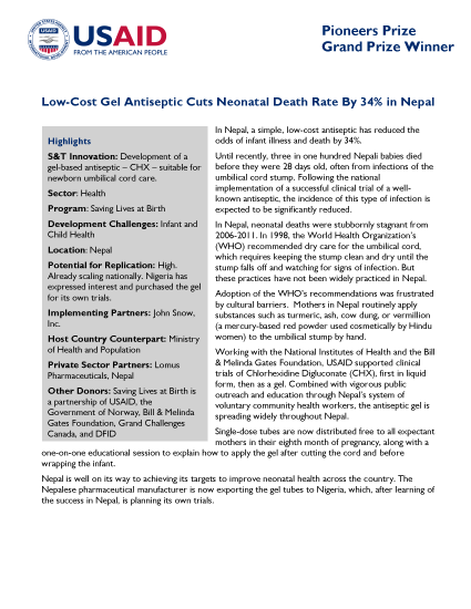 Low-Cost Gel Antiseptic Cuts Neonatal Death Rate By 34% in Nepal