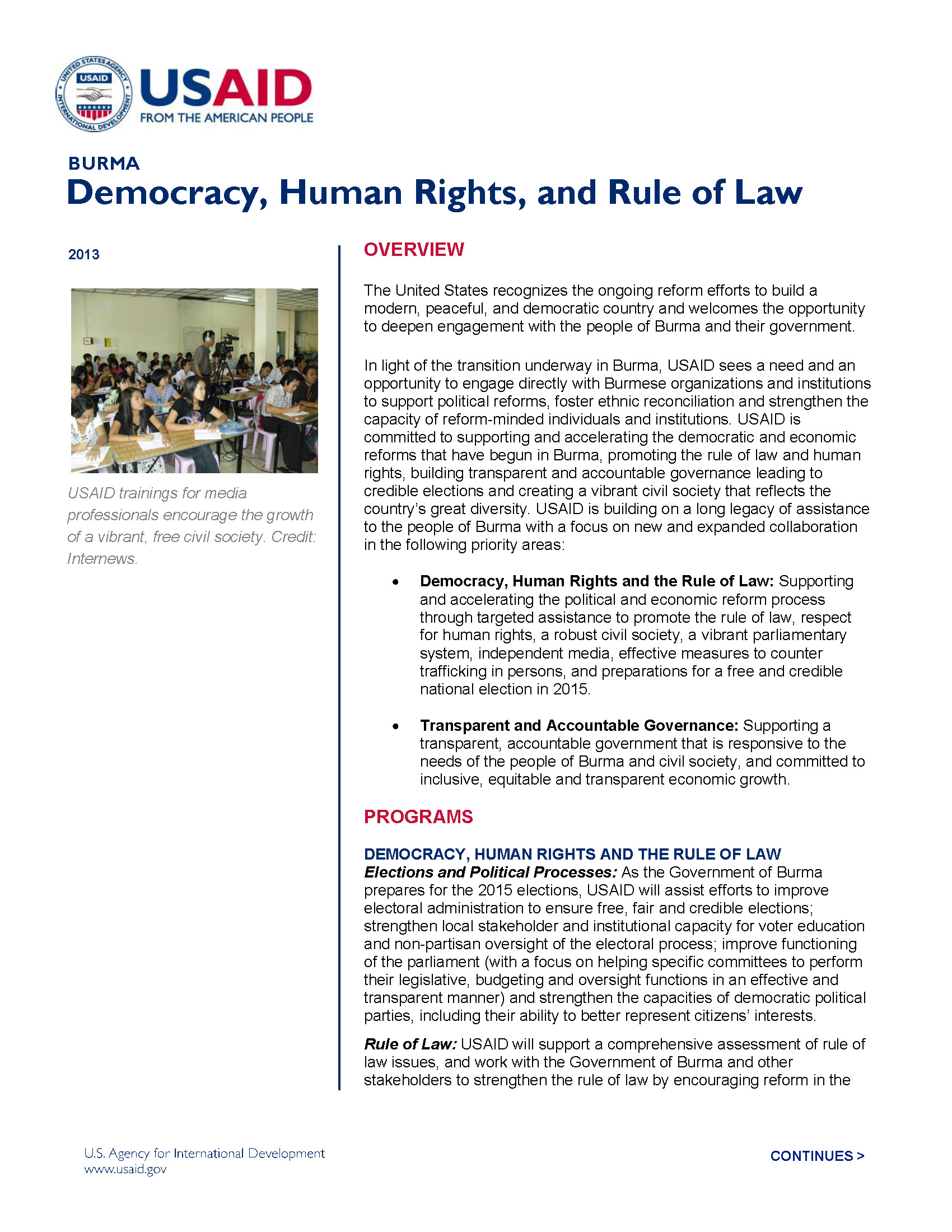 Burma: Democracy, Human Rights, and Rule of Law Fact Sheet