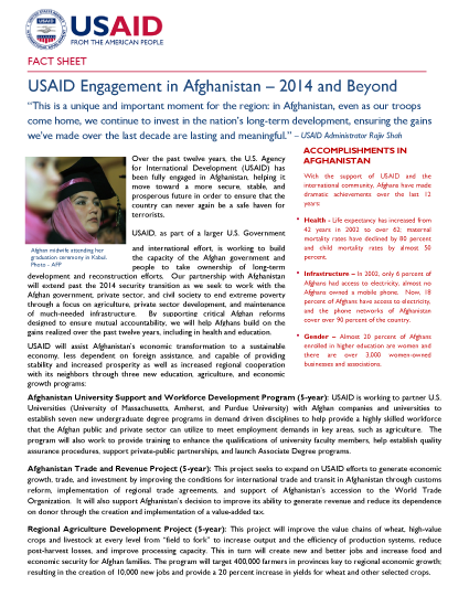 USAID Engagement in Afghanistan – 2014 and Beyond