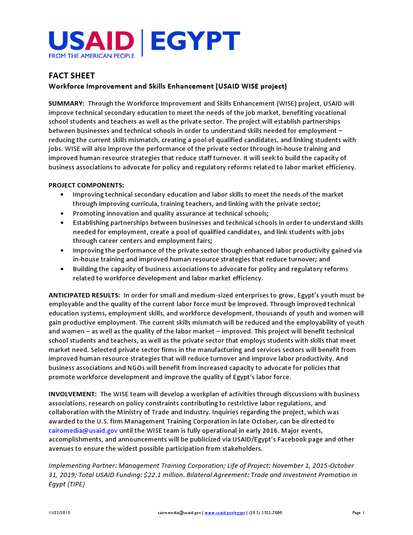 Fact Sheet: Workforce Improvement and Skills Enhancement (WISE)