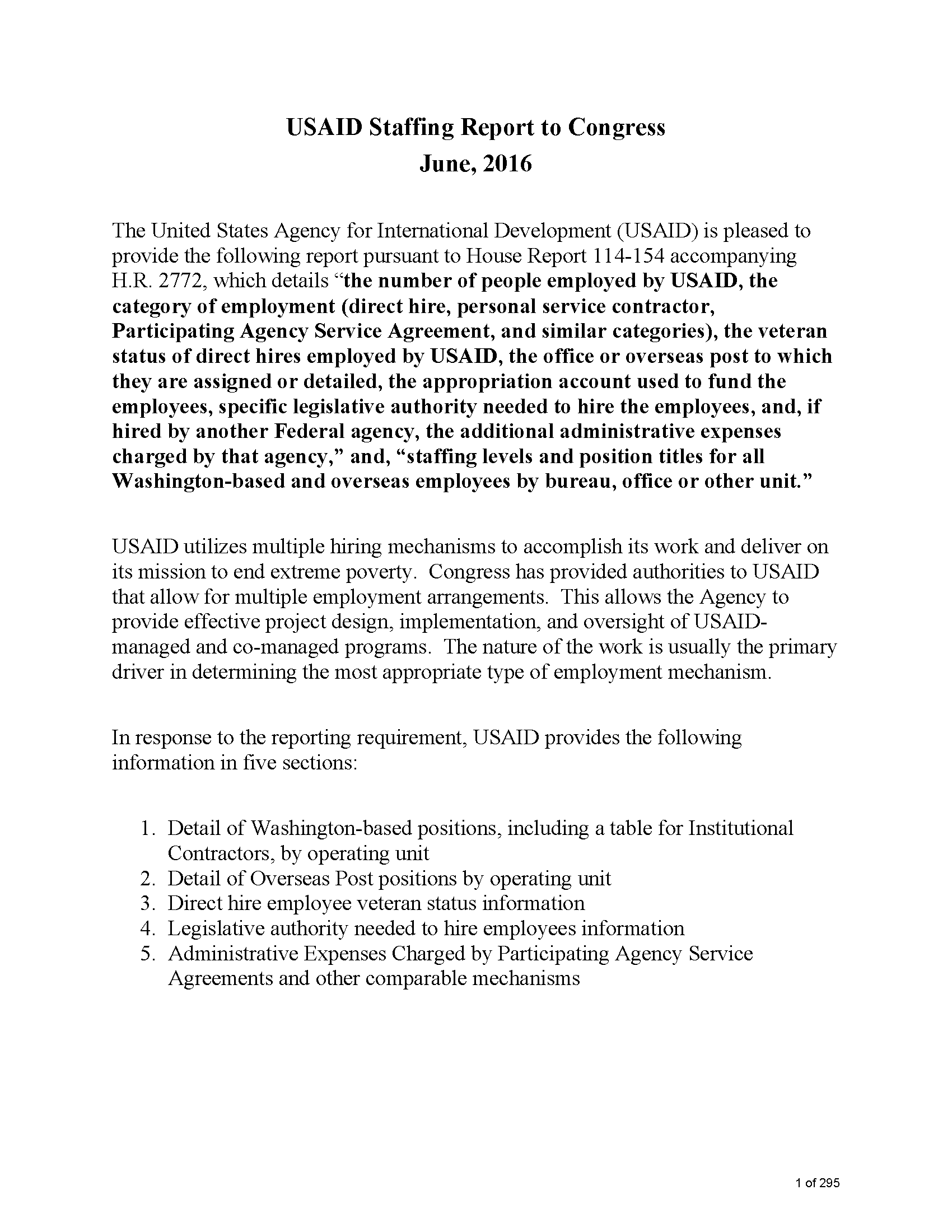 USAID Staffing Report to Congress - June, 2016