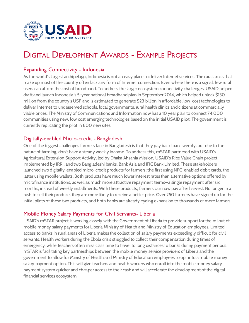 Digital Development Awards - Example Projects