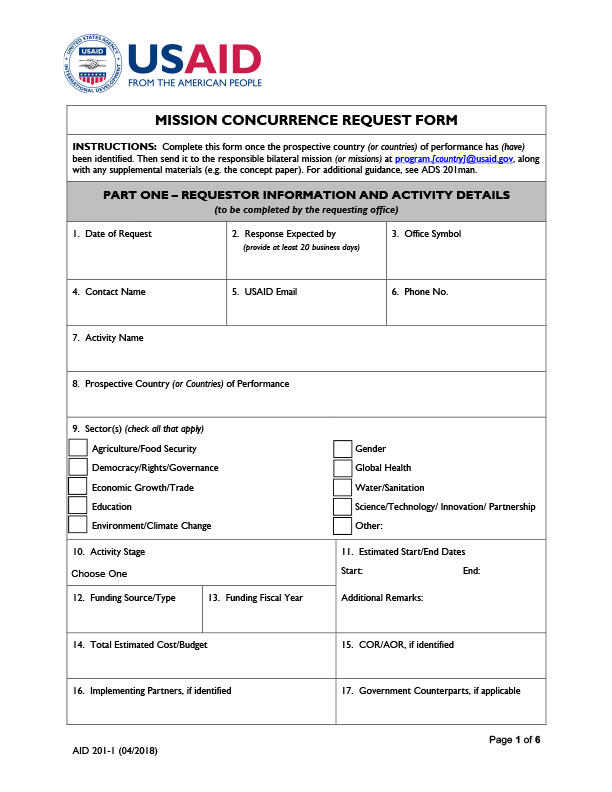 AID 201-1 (Mission Concurrence Request Form)