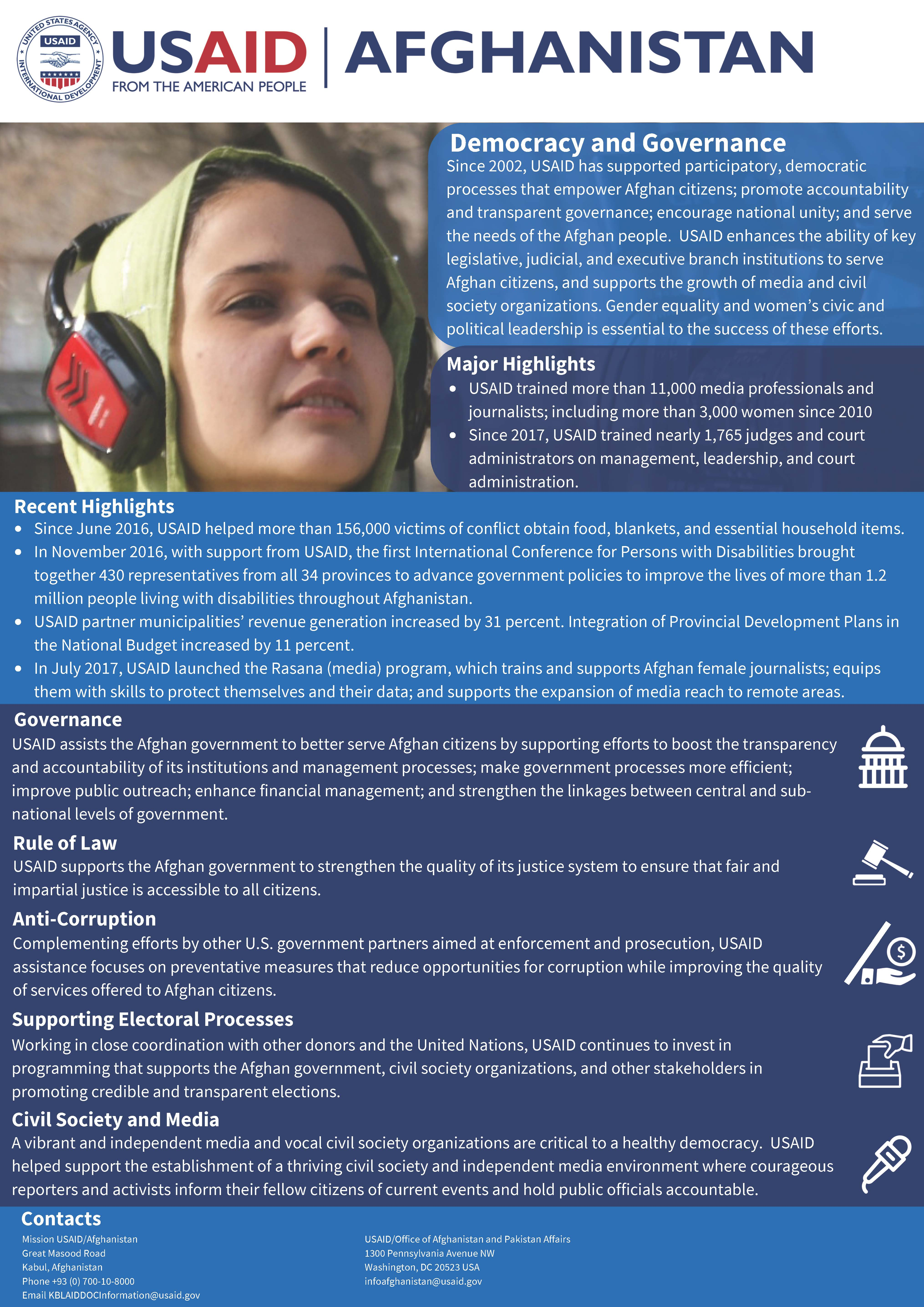 USAID Afghanistan Democracy and Governance Fact Sheet