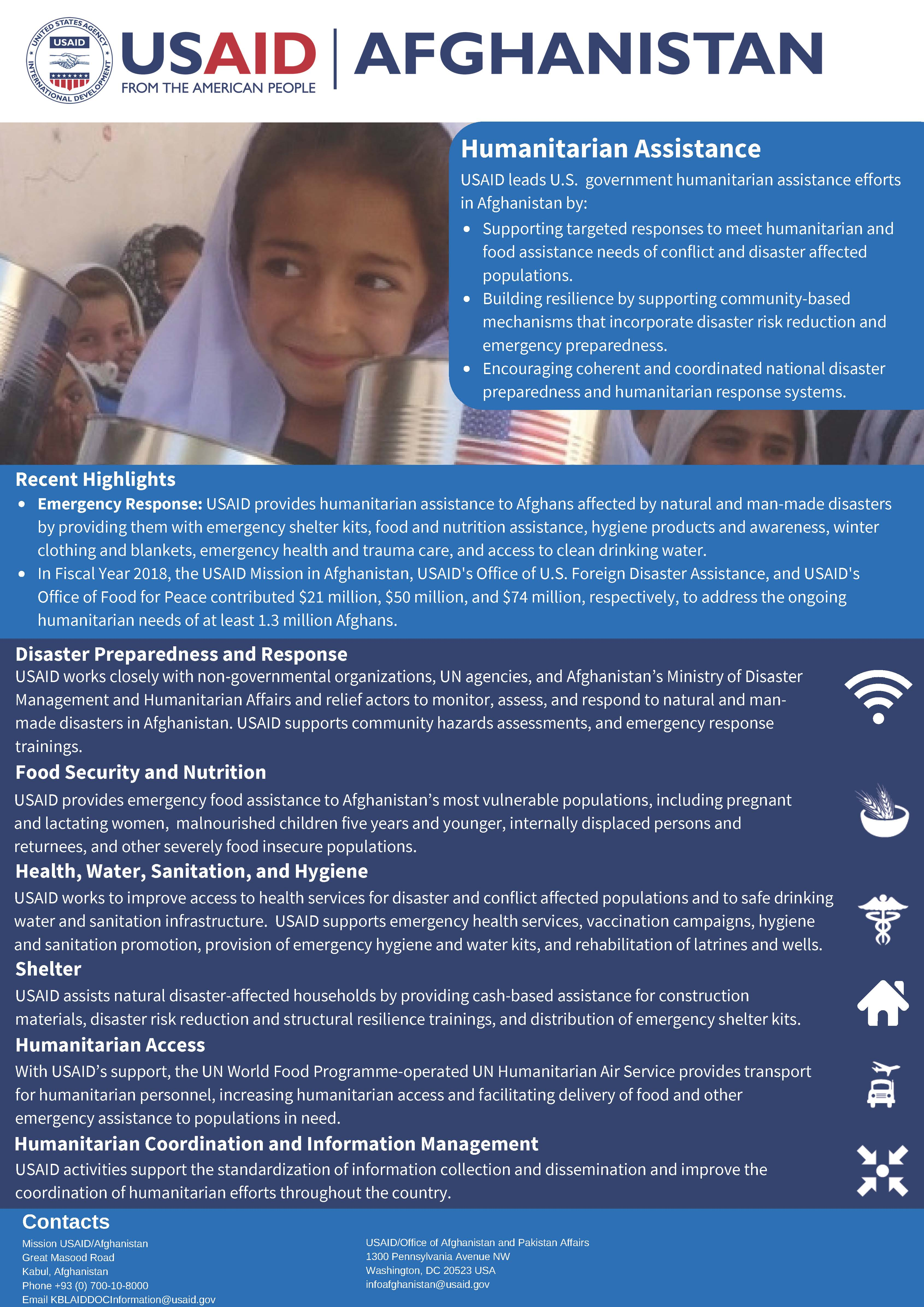 USAID Afghanistan Humanitarian Assistance Fact Sheet