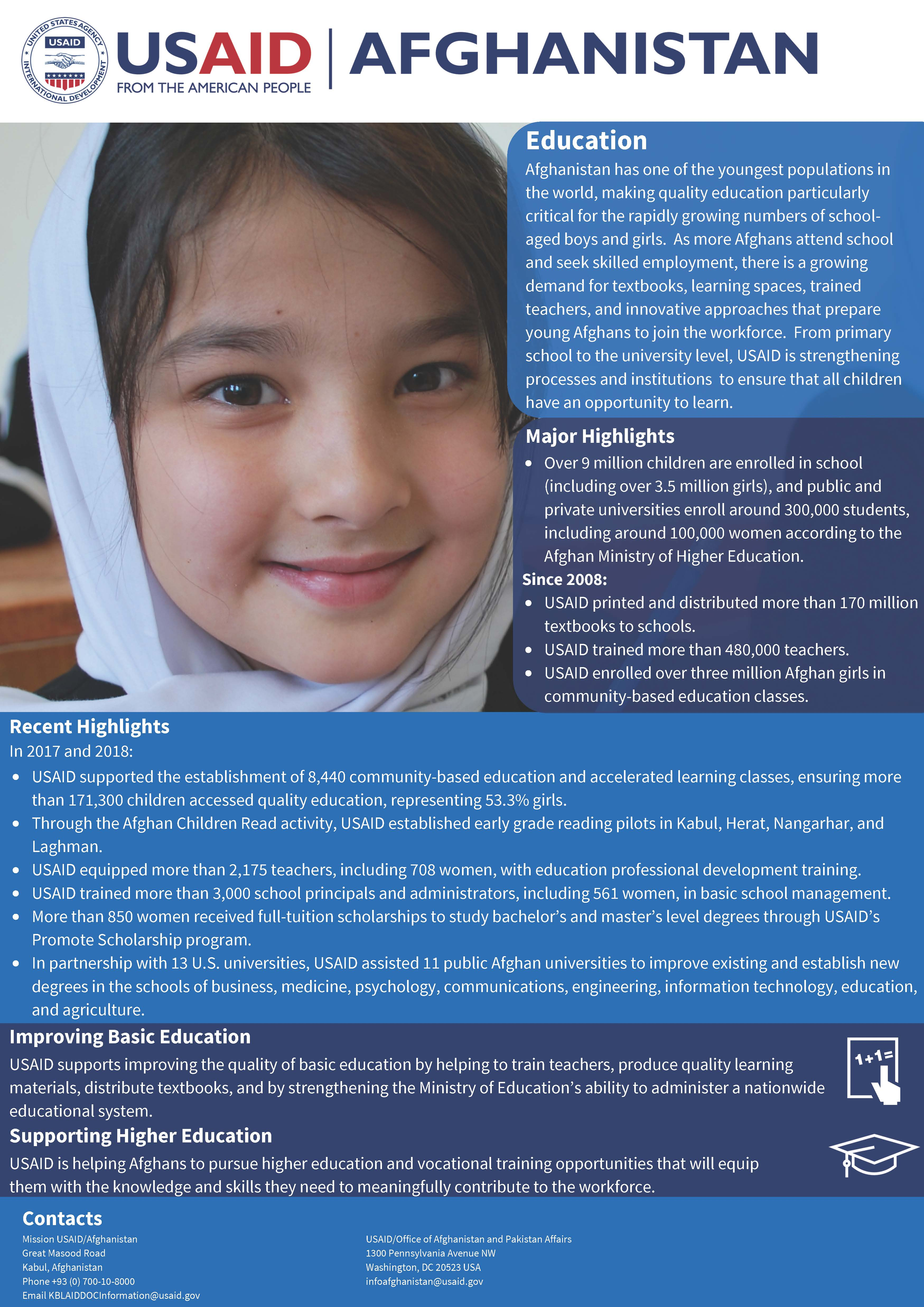 USAID Afghanistan Education Fact Sheet