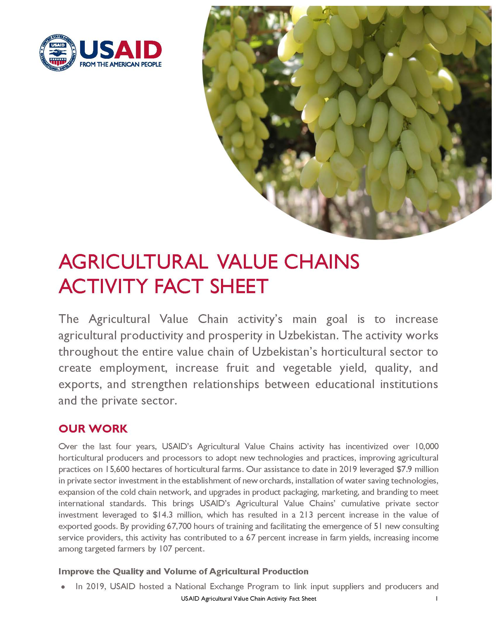 Agricultural Value Chains Activity Fact Sheet
