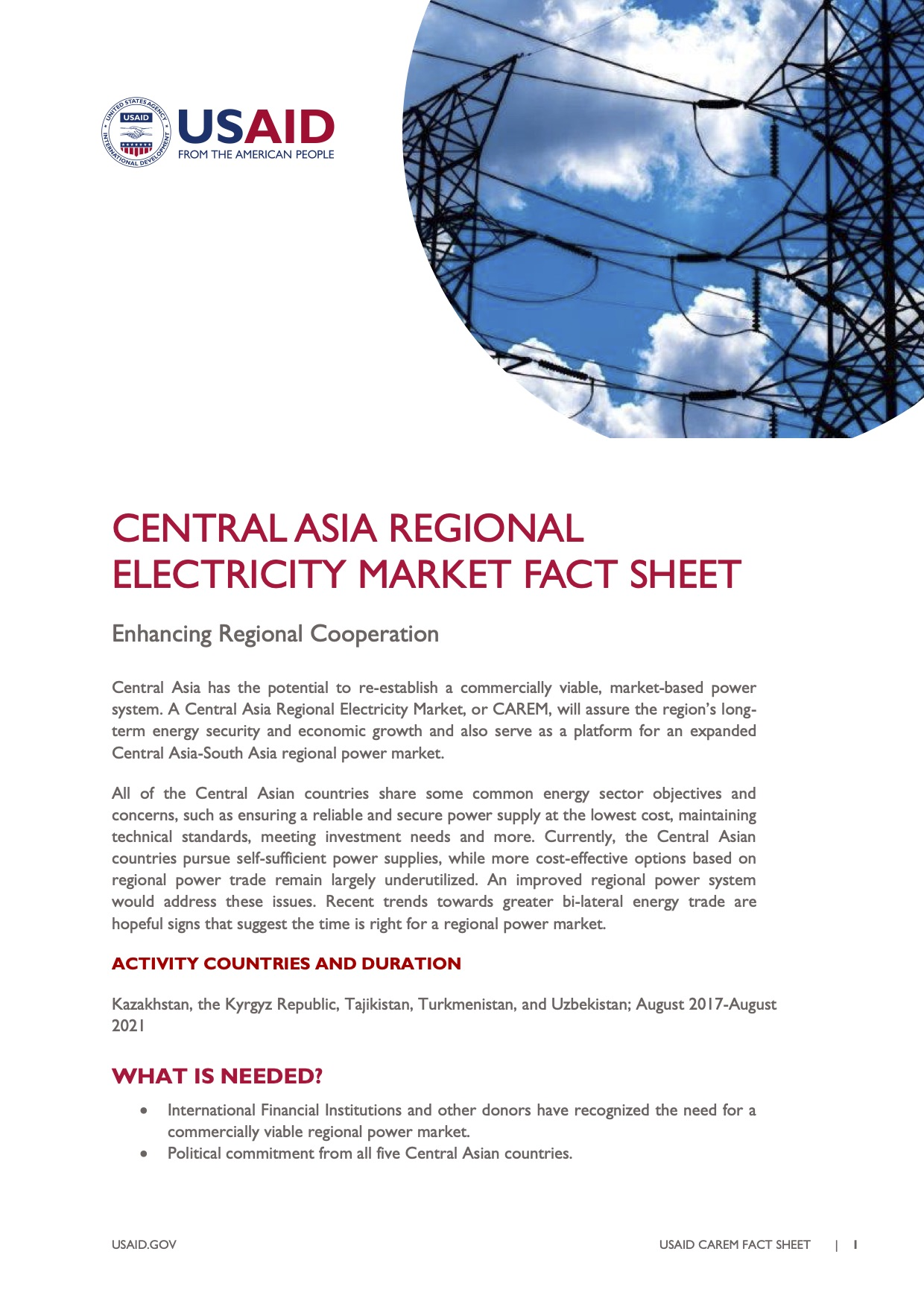 Central Asia Regional Electricity Market Fact Sheet