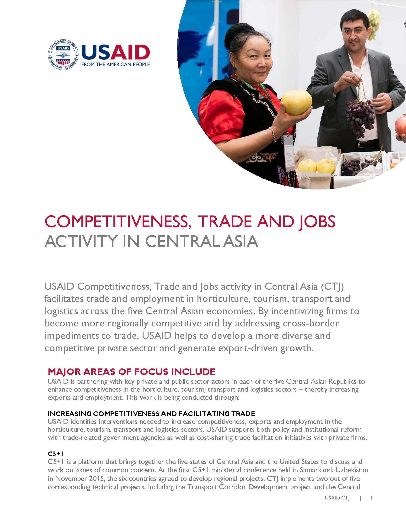 USAID Competitiveness, Trade and Jobs Activity in Central Asia