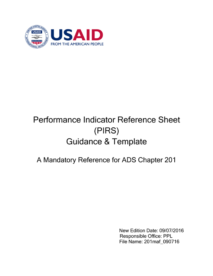 performance indicator reference sheet pirs guidance template