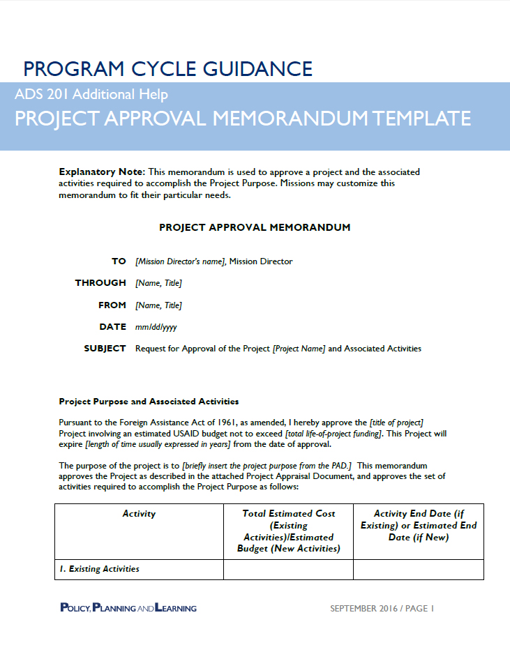 PROGRAM CYCLE GUIDANCE PROJECT APPROVAL MEMORANDUM TEMPLATE