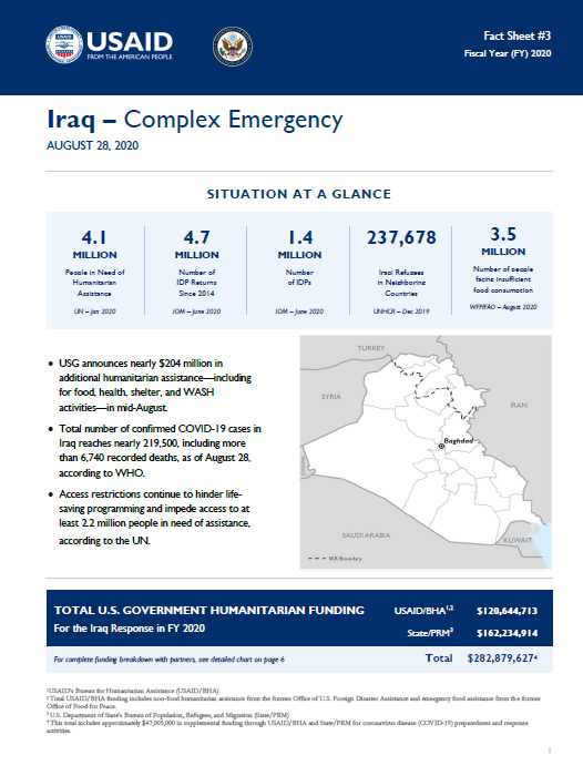 08.28.2020 USG Iraq Complex Emergency Fact Sheet #3