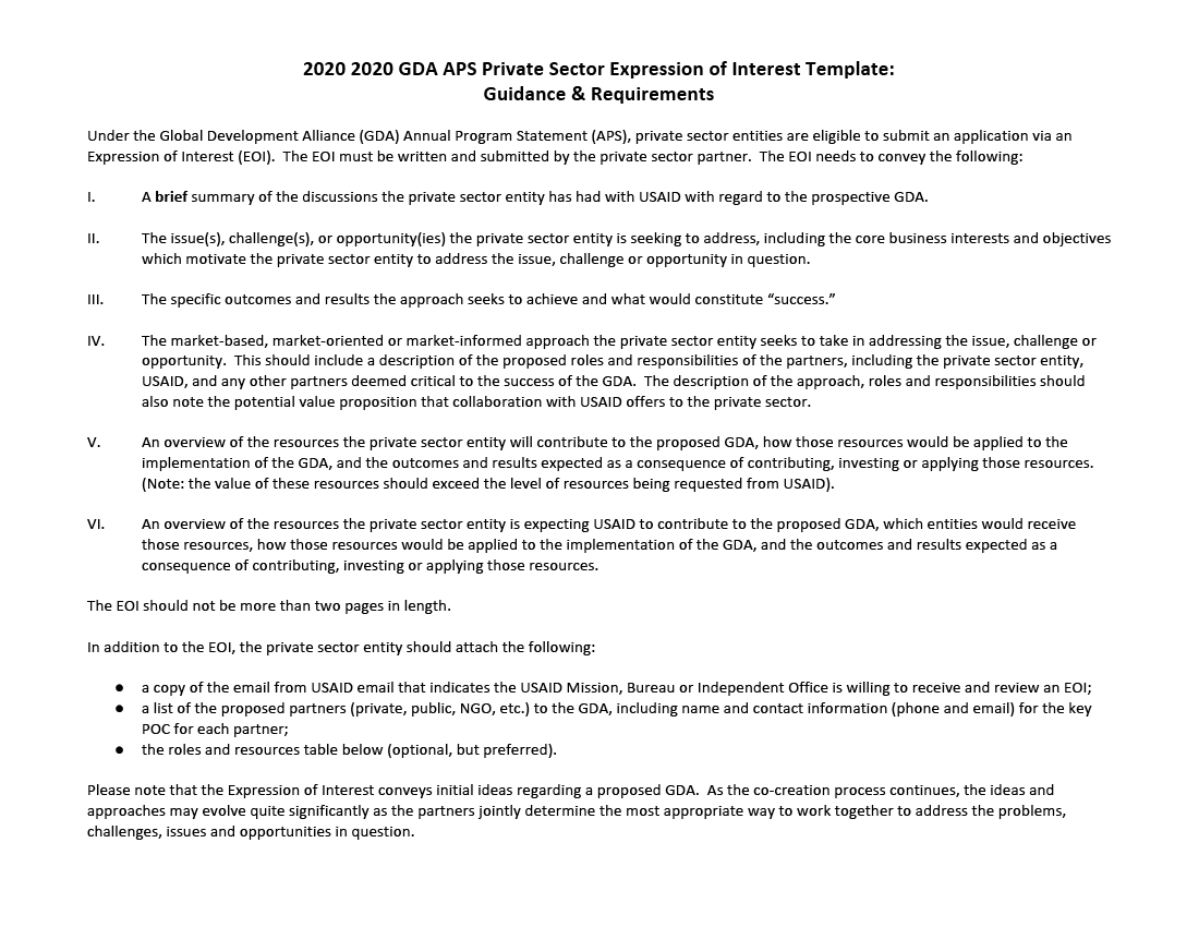 2020-2022 GDA APS Private Sector Expression of Interest Template